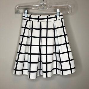 White Grid Pleated Tennis Skirt
